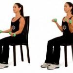 Posisi awal, kedua lengan membentuk sudut 90 derajat. Tarik lengan ke bahu, siku menekuk. Lalu lengan kembali ke posisi awal.