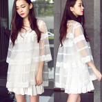 EBH060915 Dress 2pcs Pleasked Organza