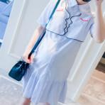 EBH070616 Casual Striped Shirt Dress Pregnant