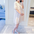 EBH110616 Pregnant Chiffon Lace Dress