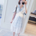 EBH130616 Two-Piece Cotton Lace Dress