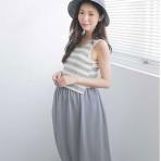 EBH060916 Stripe Chiffon Sleeveless Long Dress