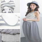 EBH060916 Breastfeeding Stripe Chiffon Sleeveless Long Dress
