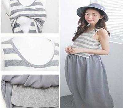 EBH060916 Breastfeeding Stripe Chiffon Sleeveless Long Dress